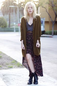 Grunge   Over-sized Cardigan, Denim Tank tucked into Long High-Low Floral Skirt and Black Folded Combat Boots.
