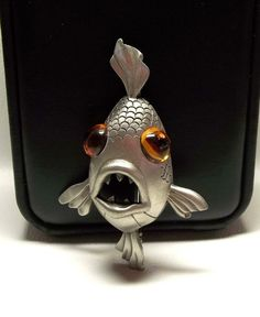 JJ Big Eyed Fish pin brooch pewter by dollherup on Etsy
