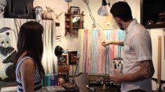 Michael Summers painting his rain series in studio