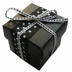 polka dot favor box, black and white