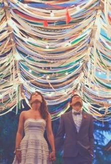 Guests make the chuppah c ribbon? http://www.themodernjewishwedding.com/magazine-second-edition