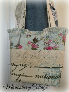 French Script Paris Eiffel tower pink roses tote purse