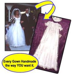 heirloom christening outfit made from your wedding gown