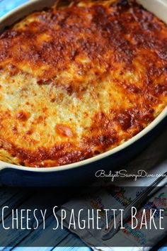 AMAZING Casserole! So simple to make - my family loves it - Must PIN and Make :) Cheesy Spaghetti Bake Recipe #casserole #recipe #cheesy #spaghetti #bake #easy #budgetsavvydiva via budgetsavvydiva.com