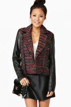 Woven Leather Jacket