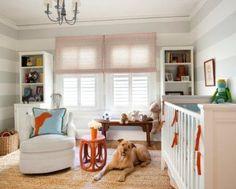 interior design, nursery design, orang, window, blue, striped walls, shelv, baby boy nurseries, babies rooms