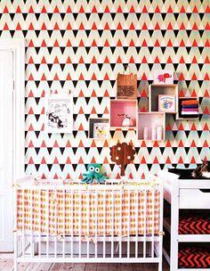 Nursery with Geometric Triangle Wallpaper - amazing!