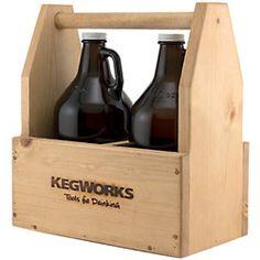 KegWorks Wooden Beer Growler Toolbox - Holds 2 Growlers