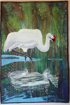 "Whooper Reflection, 53 x 36"", art quilt by Judith Roderick"