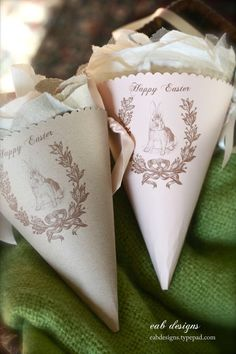 Free printable gorgeous Easter cones with gift tags.  Making these right now and they are so easy and adorable!