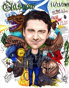 Gerard Butler caricature.