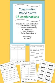 16 word combinations sorts, each of which include: Cut and Paste activity, Color the sound activity, Task Cards, Recording sheet, and Write the word sorts