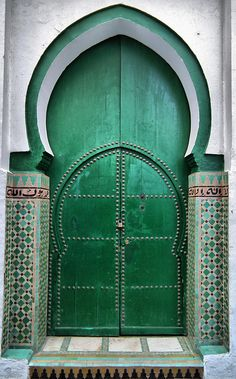 Moroccan green doors ~ beautiful architecture