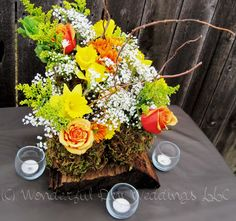 Rustic autumn centerpiece