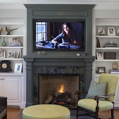 Family room adjacent to kitchen. Paint color on fireplace mantel is Benjamin Moore #1568 Quarry Rock. Designed by Julie Williams Design, Photo by Eric Rorer Photgraphy~ Fireplace Craftsman Style Design, Pictures, Remodel, Decor and Ideas - page 7
