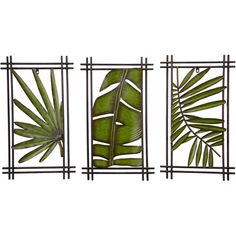 "Three wall plaques with a palm frond design.Product: 3 Piece plaque setConstruction Material: Iron, mirror and MDFColor: Antique greenDimensions: 26"" H x 15.6"" W x 1.2"" D eachCleaning and Care: Wipe with soft dust cloth  $60"