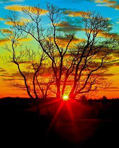 Spectacular sunrise over the summit of the mountain in Charlottesville, VA