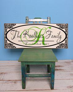 Beautiful personalized wood sign - monogram, border, your last name, est. year - great wedding, bridal shower, housewarming gift (PUMMEL). $36.00, via Etsy.