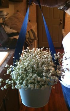 Buckets and Baby's Breath :  wedding babys breath 1 buckets aisle navy purple Buckets Babies Breath