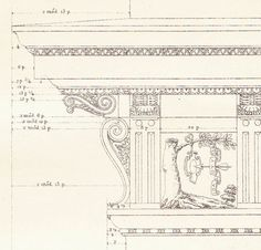 Cornice Vignola Classical Architecture Print at CarambasVintage. SOLD