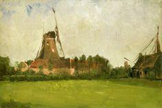 (1) Tumblr Windmill in the Dutch Countryside - John Twachtman