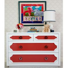 Beautiful dresser vignette in a nursery room designed by House of Ruby
