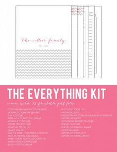 organization  Chevron Printable Planner Kit for Household Homekeeping Binder