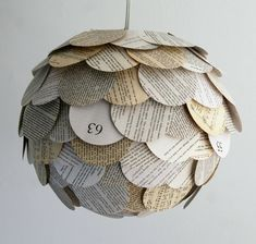 Artichoke Mixed Book Page Pendant Light - Hanging Paper Lantern - Shade Only. $75.00, via Etsy.