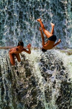 Kids Diving off a Waterfall