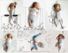 Cute and creative baby illustrations by Photographer and artist Adele Enersen