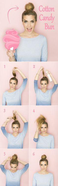 this teased bun is great if your hair is already a frizzy mess. Tease it out a bit more, swirl it around, and you've got a messy chignon.