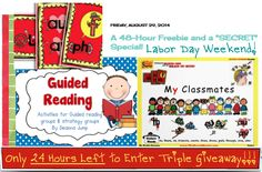 "6-HOURS left to download free guided reader AND enter this month's ""Recipe for Reading"" Triple Prize Giveaway....Winner announced midnight tonight, Aug. 31st!!! .....Follow for Free ""too-neat-not-to-keep"" teaching tools & other fun stuff :)"