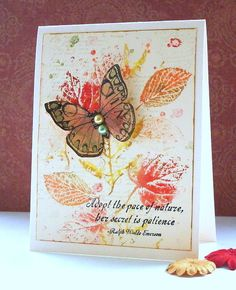 Love finding a home for a stray (Hero Arts) butterfly!! I have been inspired by the background of Sylvia Nelson on her cards recently, love them! I use all sorts of scraps to stamp butterflies on, I believe this was a stray patterned paper that I colored... | Flickr - Photo Sharing!