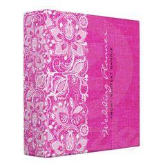 vinyl binder, linen burlap, pink linen