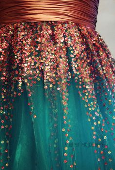 sequins... glitter and sparkle... teal and copper together... pretty prom dresses...