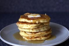 sweet corn pancakes, butter, syrup by smitten, via Flickr