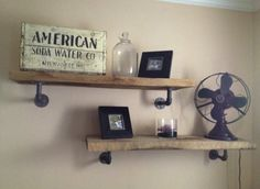 examples of wood and pipe shelving | DIY wood & galvanized pipe shelves