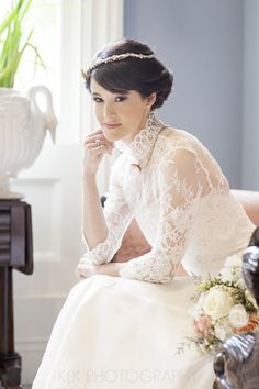 Plantation Wedding Photographer, Houmas House, New Orleans Wedding, Great Gatsby theme wedding, great gatsby bride, gatsby hairpiece, the soil and sea, tyler lott model, edwardian wedding, destination wedding photographer, klk photography,  downton abbey wedding, downtown abbey inspiration, victorian, collared lace dress, timeless photography, wedding photographer victorian dresses, lace dresses
