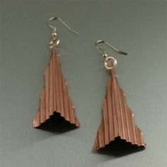 Fold Formed Copper Jewelry / Corrugated Fold Formed Copper Triangle Earrings