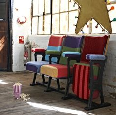 these theater chairs upcycled with sweaters make me happy!!!