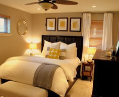 Love the yellow, white, gray, and brown combo w/ bedroom layout