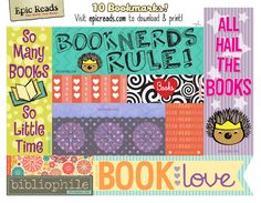 These free printable bookmarks are 100% Snarkles approved and perfect for summer reading. All you need is a color printer, some heavy paper or card stock and scissors! Get to it book nerds!