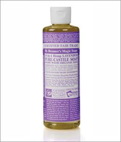 Dr. Bronner's Hemp Lavender Liquid Pure-Castille Soap  A relaxing fragrance for tired and stressed-out souls, lavender calms the nerves and soothes the body. All Dr. Bronner's oils and essential oils are certified organic to the National Organic Standards Program. Product is packaged in 100% post-consumer recycled plastic bottles and certified Fair Trade. http://www.drbronner.com/DBMS/OLLA08/LavenderLiquidSoap.htm
