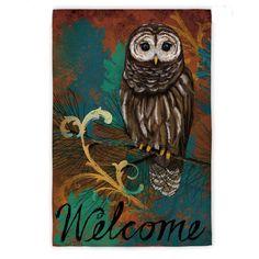 Evergreen Welcome Owl Garden Flag