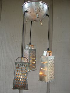 Upcycled Vintage Colander and Grater Pendant Light. $110.00, via Etsy.