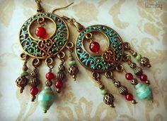 hand paint, larg chandeli, chandelier earrings, gypsi earring, chandeli earring
