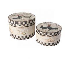 Cajas de madera envejecidas country set de 2