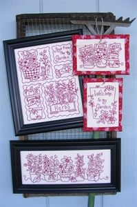 plant, penny rugs, hand embroidery, embroidery patterns, garden redwork, penni, brain design, bird brain, red work