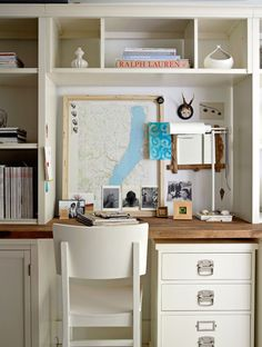 wood + white for desk in utility room
