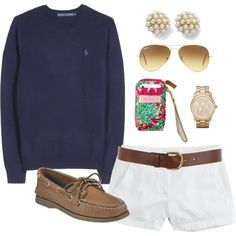 """OOTD by classically-preppy on Polyvore"" I think this is such a cute and comfy outfit, but different shoes."